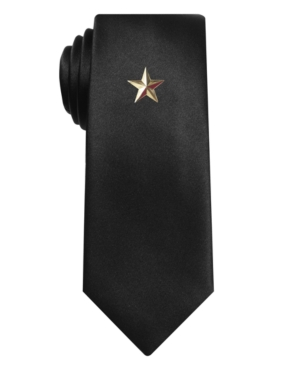 Alfani RED Tie, Black Sateen Solid Skinny Tie with Gold Star