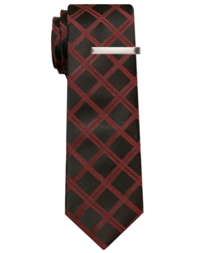 Alfani RED Tie, Haiti Plaid Skinny Tie with Tie Bar