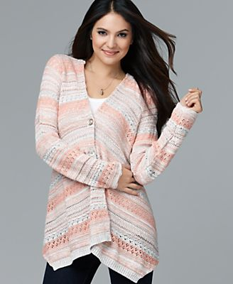 Style&co. Sweater, Long Sleeve Multi Knit Button Cardigan