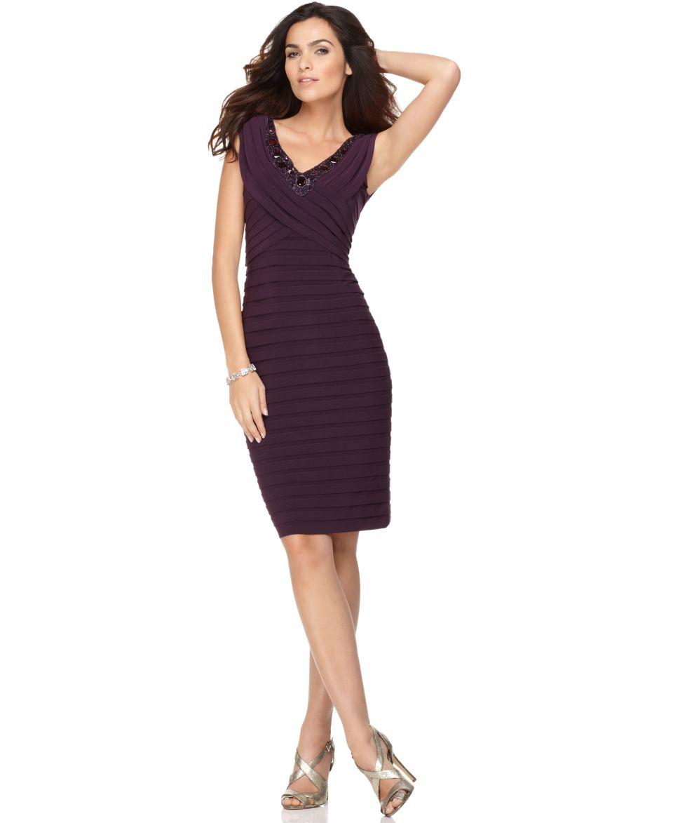 Adrianna Papell Petite Dress, Cap Sleeve Beaded Pleated   Dresses   Women