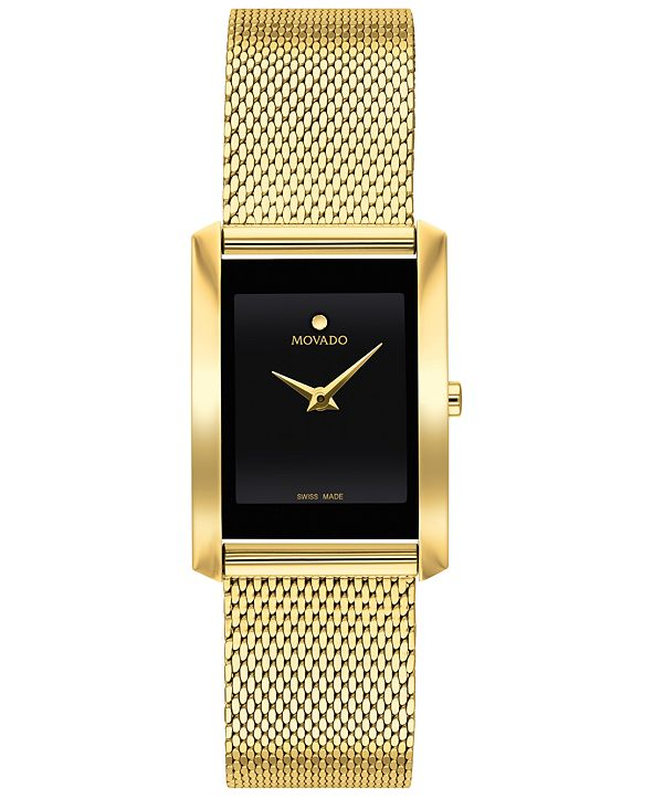 Movado Women's Swiss La Nouvelle Gold-Tone PVD Stainless Steel Mesh Bracelet Watch 21x29mm