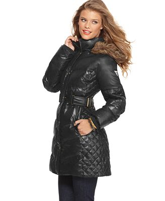 Guess Coat Faux Fur Hooded Quilted Belted Puffer Coats