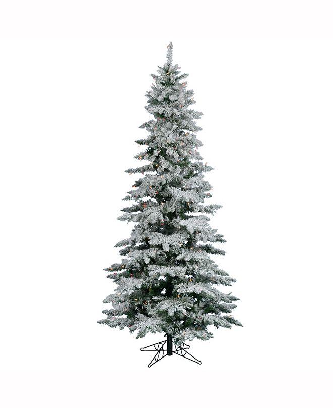 Vickerman 6.5 ft Flocked Utica Fir Slim Artificial Christmas Tree With 400 Multi Lights