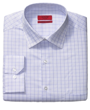 Alfani Dress Shirt, Fitted Purple Might Checked Long Sleeve Shirt