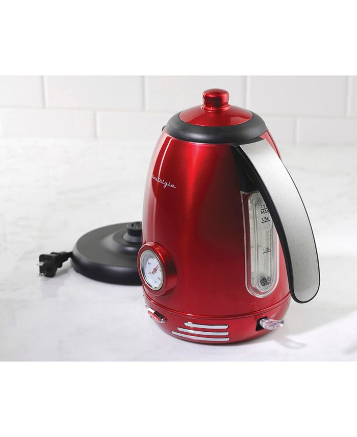Nostalgia - RWK150 Retro 1.7-Liter Stainless Steel Electric Water Kettle with Strix Thermostat
