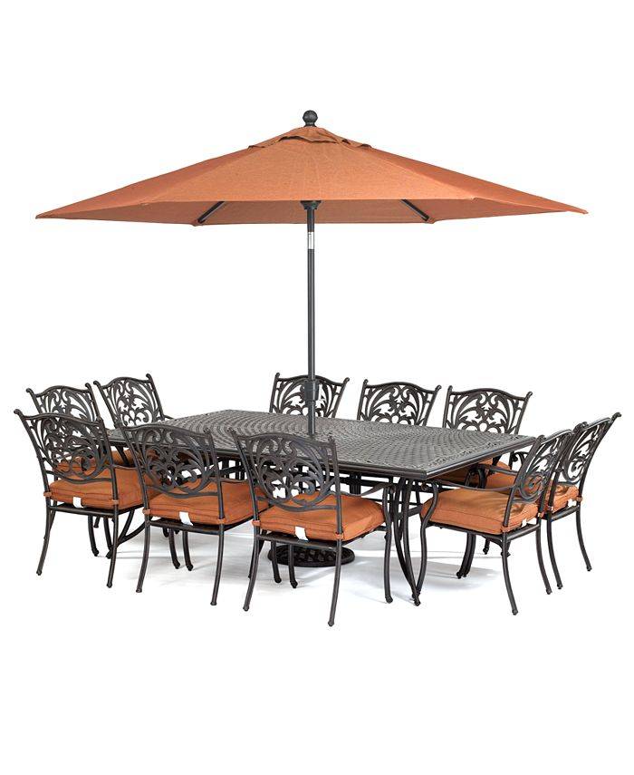 Furniture Chateau Outdoor Cast Aluminum 11 Pc Dining Set 84 X 60 Dining Table And 10 Dining Chairs Created For Macy S Reviews Furniture Macy S