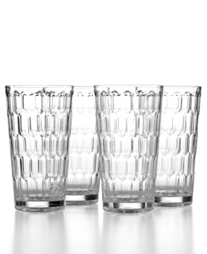 The Cellar Drinkware, Set of 4 Honeycomb Clear Highball Glasses