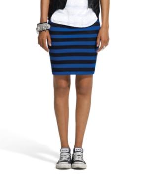 Bar III Skirt, Pull On Striped Pencil