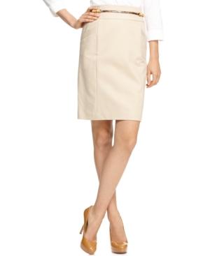 Calvin Klein Skirt, Pencil Faux Python Belted