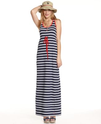 Tommy Girl Dress, Sleeveless Racerback Striped Maxi Tank
