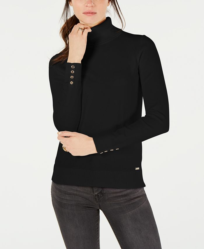 Tommy Hilfiger - Cotton Button-Trim Turtleneck Sweater