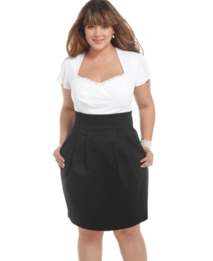 Trixxi Plus Size Dress, Short Sleeve Gathered Pleated
