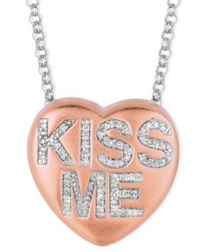 Sweethearts Diamond Necklace, 14k Rose Gold over Sterling Silver Diamond Kiss Me Heart Pendant (1/6 ct. t.w.)