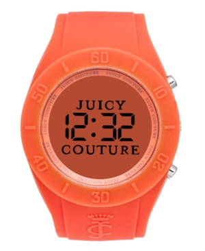 Juicy Couture Watch, Women's Digital Sport Couture Orange Rubber Strap 42mm 1900883