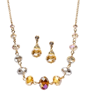 c.A.K.e. by Ali Khan Jewelry Set, Champagne Glass Bead Necklace and Earrings Set