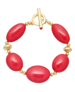 Lauren by Ralph Lauren Bracelet, Large Reconstituted Coral Rondelle Toggle Bracelet