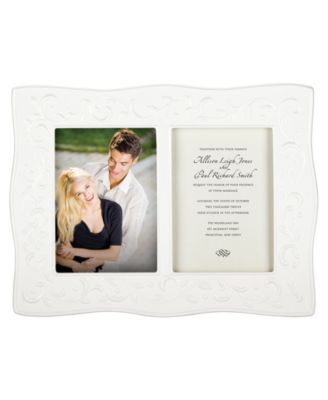 Lenox Picture Frame, Opal Innocence Carved Double Invitation Frame