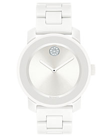 Movado Women's Swiss BOLD White Ceramic & Stainless Steel Bracelet Watch 36mm