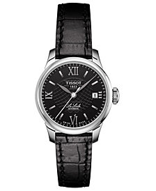 Tissot Women's Swiss Automatic T-Classic Le Locle Black Leather Strap Watch 25.3mm