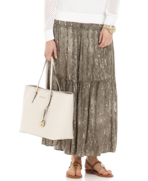 MICHAEL Michael Kors Skirt, Printed Tiered Maxi A Line
