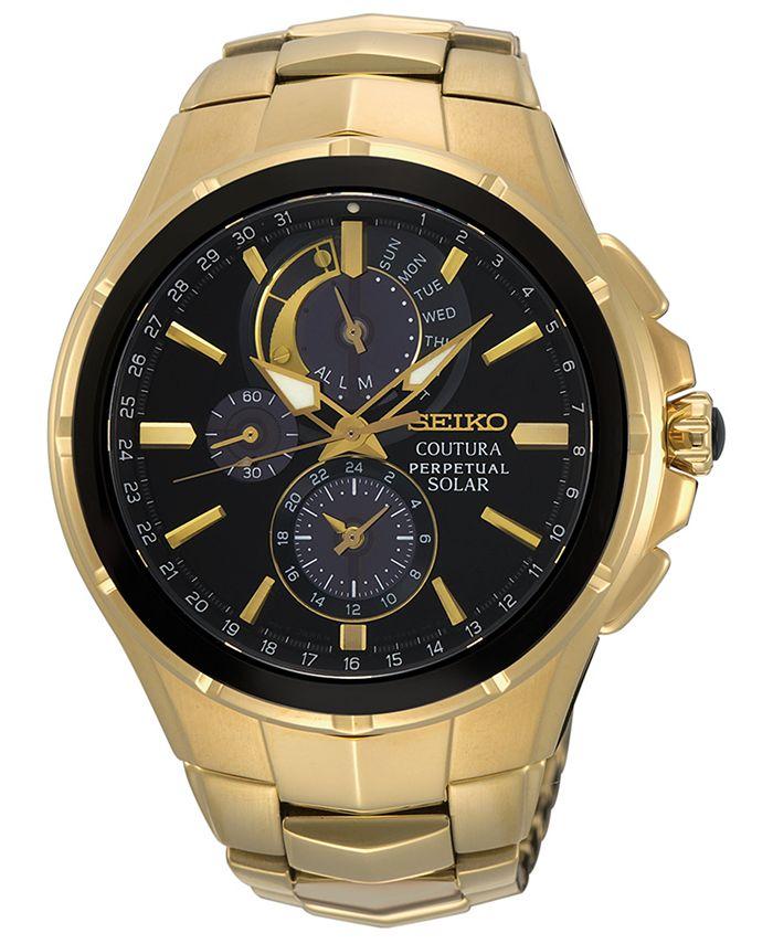 Seiko - Men's Solar Chronograph Coutura Gold-Tone Stainless Steel Bracelet Watch 44mm