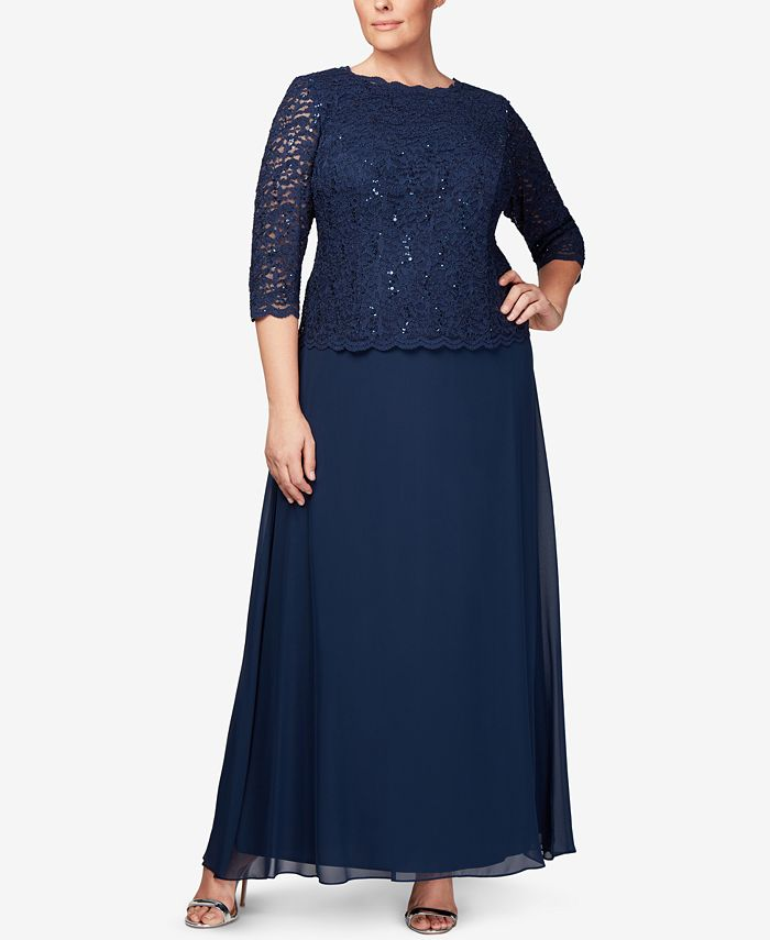 Alex Evenings - Plus Size Three-Quarter-Sleeve Sequined Lace Gown
