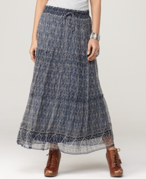 Lucky Brand Jeans Skirt, Tiered Printed Maxi
