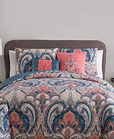 VCNY Home Casa Real Damask Reversible 4 Piece Comforter Set, Twin XL