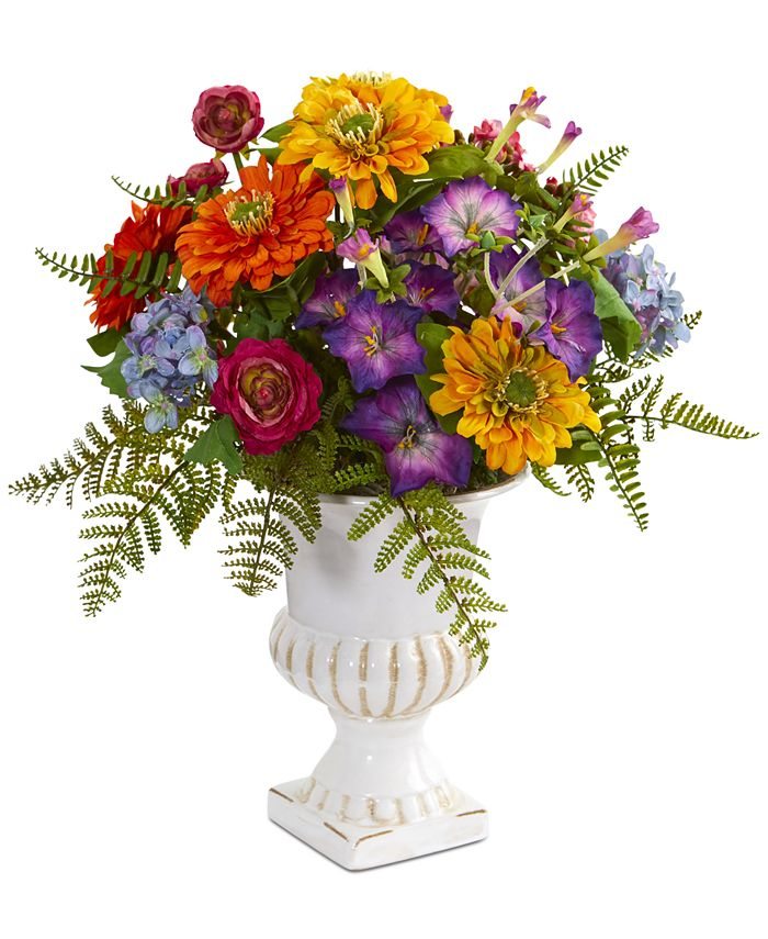 Nearly Natural - Mixed Floral Artificial Arrangement in Urn