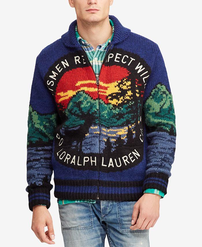 Polo Ralph Lauren Men S Great Outdoors Intarsia Full Zip Cardigan Reviews Sweaters Men Macy S