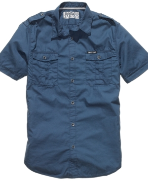 DKNY Jeans Shirt, Double Pocket Short Sleeve