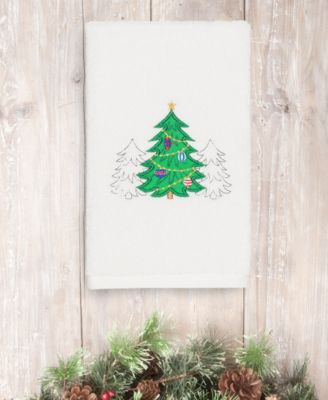 CLOSEOUT!  Christmas Three Trees 100% Turkish Cotton 2-Pc. Hand Towel Set