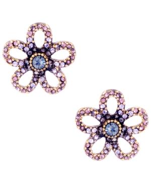 Betsey Johnson Earrings, Purple Crystal Flower Stud Earrings