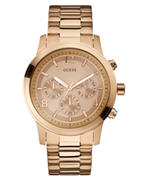 GUESS Watch, Men's Rose Gold Tone Stainless Steel Bracelet 45mm U16003G1