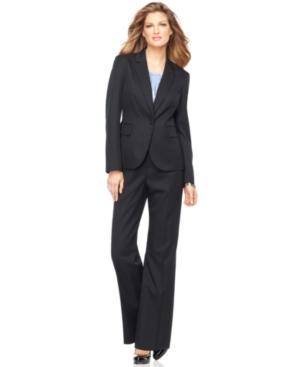 Kasper Suit, Pinstriped Single Button Jacket, Sleeveless Pleated Cami & Wide Leg Pinstripe Pants