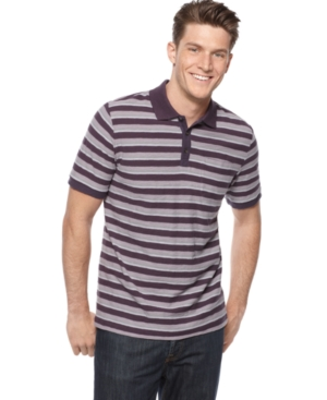 Alfani Black Shirt, Slub Stripe Polo Shirt