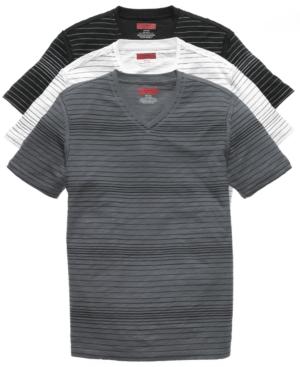 Alfani Red Shirt, Short Sleeve Stripe Slub V Neck T Shirt