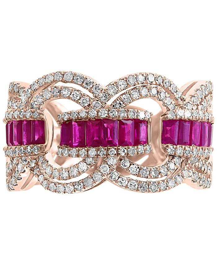 EFFY Collection - Certified Ruby (9/10 ct. t.w.) & Diamond (3/4 ct. t.w.) Ring in 14k Rose Gold