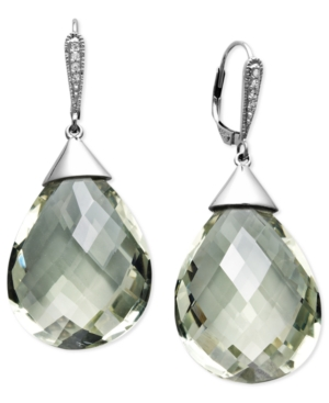 14k White Gold Earrings, Green Quartz (40 ct. t.w.) and Diamond Accent Drop Earrings