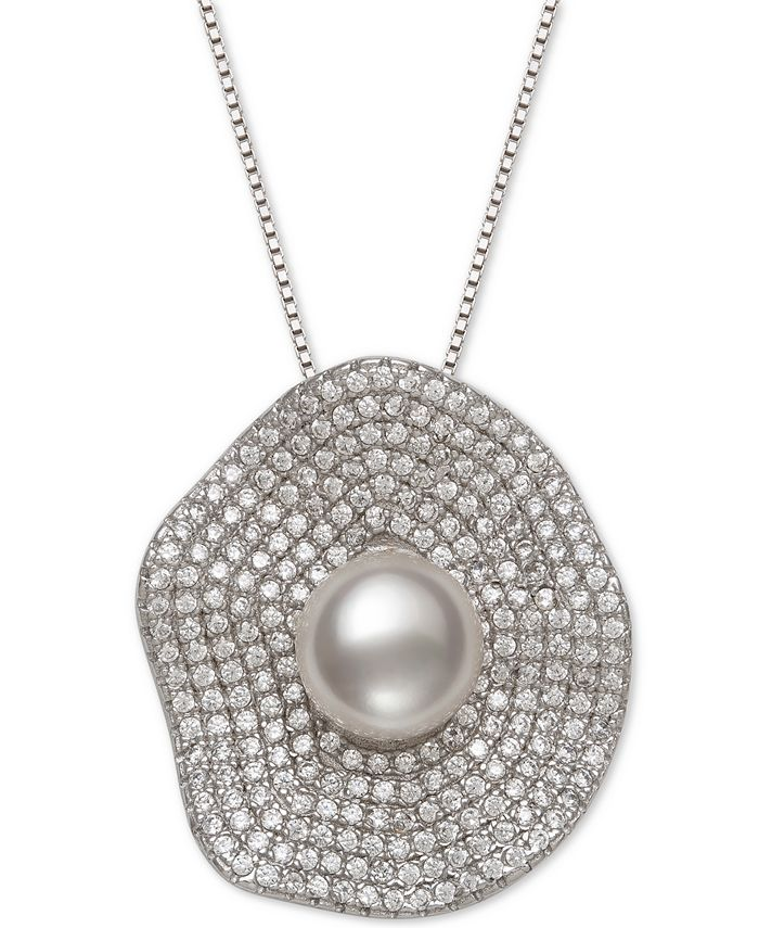 "Belle de Mer - Cultured Freshwater Pearl (8mm) & Cubic Zirconia 18"" Pendant Necklace in Sterling Silver"