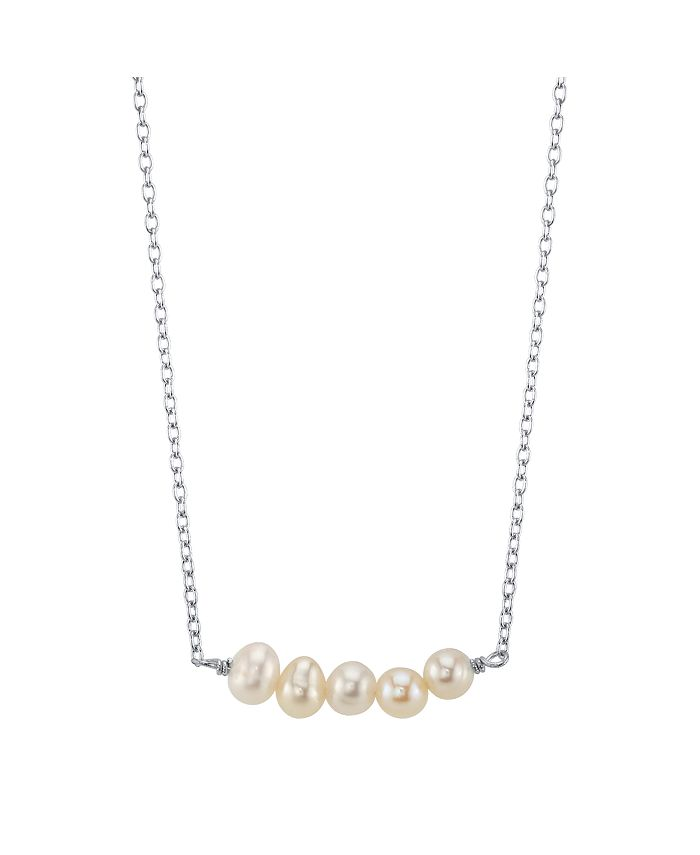 Unwritten Bridesmaid Collection Multi Freshwater Pearl Station Necklace In Sterling Silver Rose Gold Or Yellow Gold 16 2 Chain 5mm Pearls Reviews Necklaces Jewelry Watches Macy S