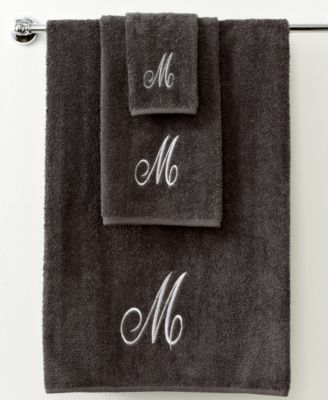 "Avanti Bath Towels, Initial Script Granite and Silver 11"" x 18"" Fingertip"