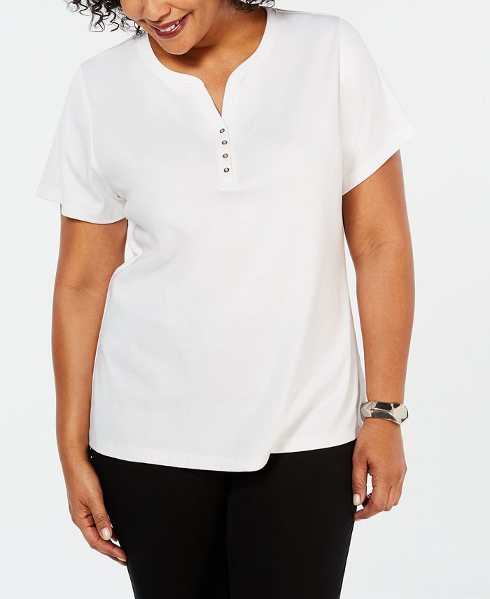 Karen Scott - Plus Size Cotton Henley Top
