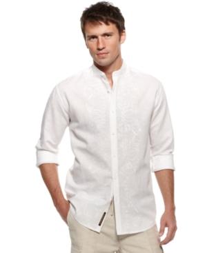 Cubavera Shirt, Banded Collar Embroidered Shirt