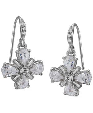 Carolee Earrings, Silver Tone Glass Bridal Earrings