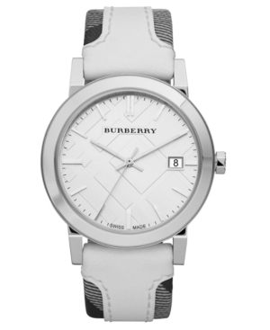 Burberry Watch, Women's Trench Smoked Check Fabric and Smooth White Leather Strap 38mm BU9019