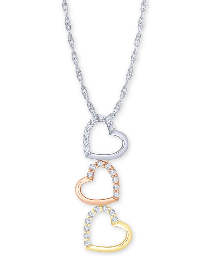 """Macy's - Diamond Tricolor Triple Heart 18"""" Pendant Necklace (1/5 ct. t.w.) in 10k Gold, White Gold & Rose Gold"""