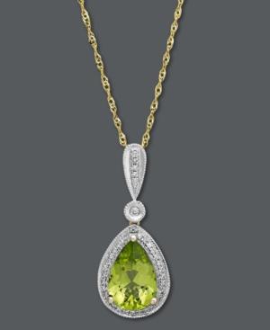 14k Gold Necklace, Peridot (1-7/8 ct. t.w.) and Diamond (1/10 ct. t.w.) Pendant