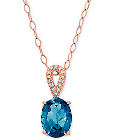 """Blue Topaz (2-1/5 ct. t.w.) & Diamond Accent 18"""" Pendant Necklace in 14k Rose Gold"""