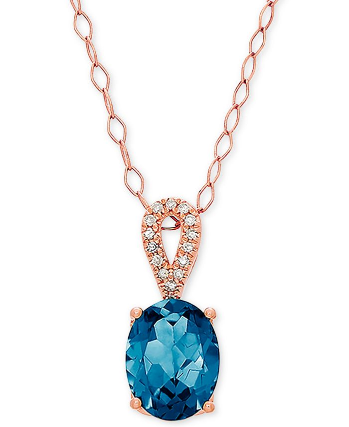 """Macy's - Blue Topaz (2-1/5 ct. t.w.) & Diamond Accent 18"""" Pendant Necklace in 14k Rose Gold"""